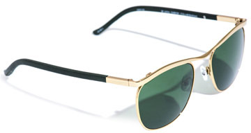 The Row Clubmaster style metal and leather sunglasses
