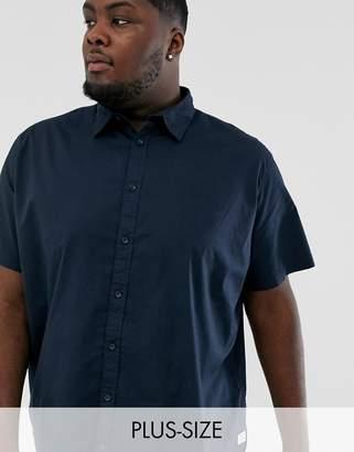 Jack and Jones Originals cotton stretch short sleeve shirt in navy