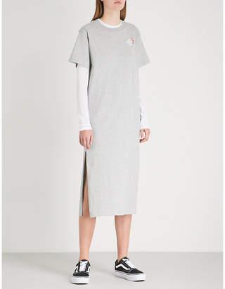Mini Cream Logo-print cotton-jersey midi dress