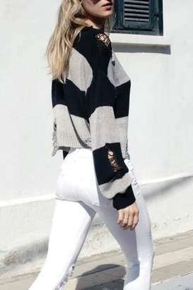 Elan International Destroyed Striped Sweater