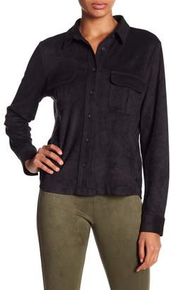 David Lerner Micro Suede Button Down Top
