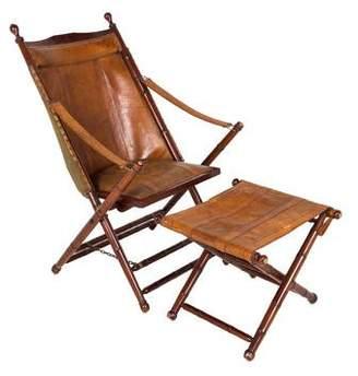 2-Piece Leather Folding Chair & Ottoman