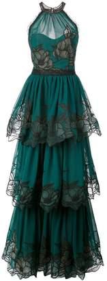 Marchesa floral embroidered halterneck gown