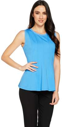 Halston H By H by VIP Ponte Sleeveless Peplum Top with Seam Details
