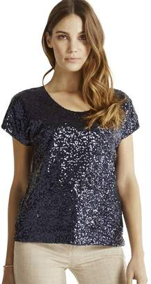 Apricot Navy Sequin Front Mesh Party Top