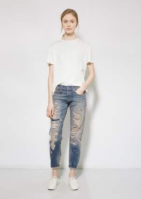 R 13 Selvedge Shredd Relaxed Skinny Jean Selvedge Shredd Blue
