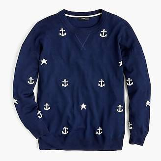 J.Crew Merino wool crewneck sweater in anchors and stars