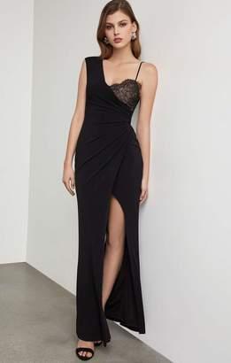 BCBGMAXAZRIA One Shoulder Lace Inset Gown