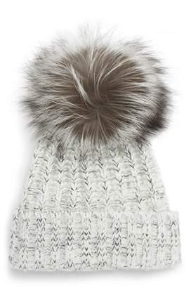 KYI KYI Beanie with Genuine Fox Fur Pom