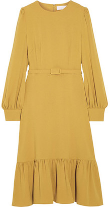 Co - Belted Ruffled Crepe Dress - Marigold $895 thestylecure.com