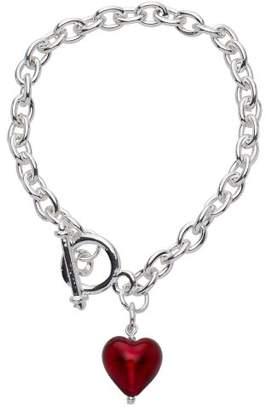 Glass Heart Amanti Venezia Bellissi Murano Venezia Silver Plated T Bar with a Red Murano Bracelet