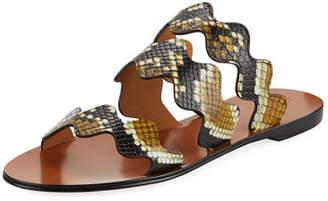 Chloé Flat Wave Scalloped Slide Sandals