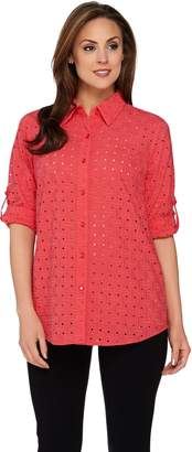 Joan Rivers Classics Collection Joan Rivers Eyelet Boyfriend Shirt with 3/4 Sleeves