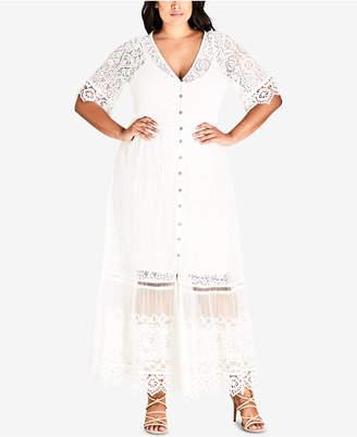 City Chic Trendy Plus Size Lace Maxi Dress