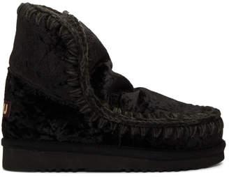 Mou Black Velvet Eskimo 18 Boots