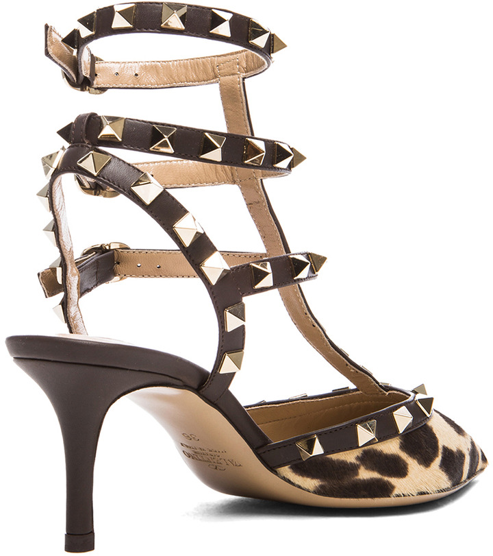 Valentino Rockstud Leather & Calf Hair Slingbacks T.65 in Leopard