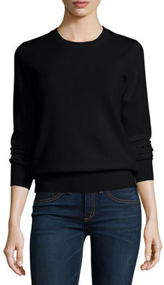 Neiman Marcus Cashmere Collection Long-Sleeve Crewneck Cashmere Sweater $250 thestylecure.com