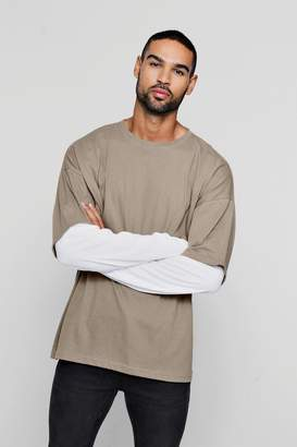 boohoo Oversized Faux Layer Long Sleeve T-Shirt