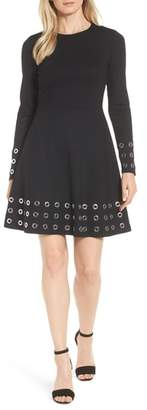 MICHAEL Michael Kors Grommet Trim Fit & Flare Dress
