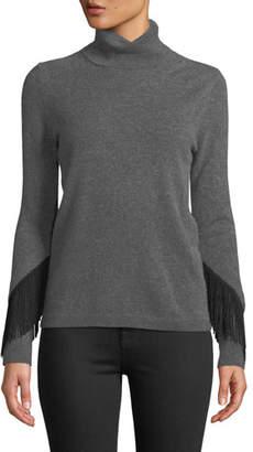 Neiman Marcus Cashmere Fringe-Trim Turtleneck Sweater