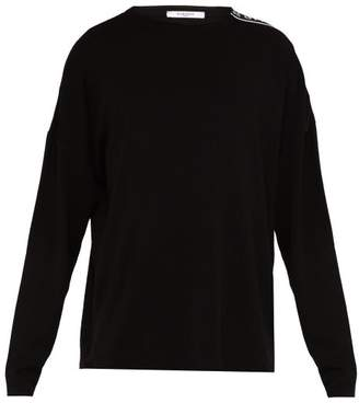 Givenchy Logo Tape Crew Neck Wool Sweater - Mens - Black