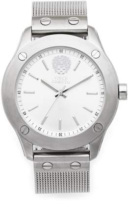 Vince Camuto Silvertone Nailhead-Detailed Mesh-bracelet Watch