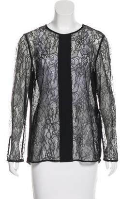 By Malene Birger Lace-Paneled Long Sleeve Top