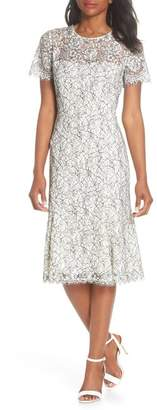 Eliza J Two-Tone Lace A-Line Dress
