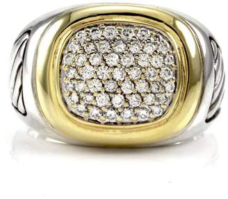 David Yurman Waverly Cable Sterling Silver and 18K Yellow Gold 1.03 Ct Diamond Ring Size 10