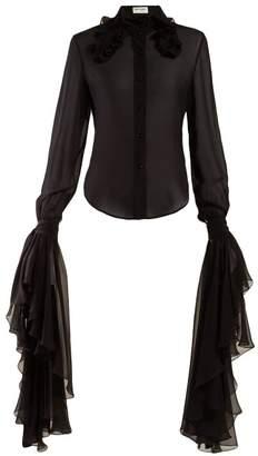 Saint Laurent Ruffled Trim Georgette Blouse - Womens - Black