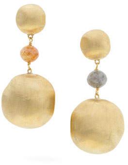 Marco Bicego Unico Africa 18k Gold Beaded Drop Earrings with Raw Diamonds