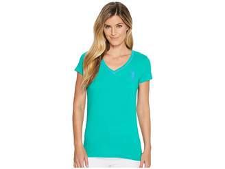 U.S. Polo Assn. Cotton Jersey V-Neck Big Logo T-Shirt Women's Short Sleeve Pullover