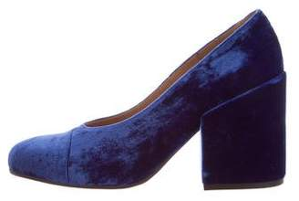 Dries Van Noten Velvet Round-Toe Pumps w/ Tags