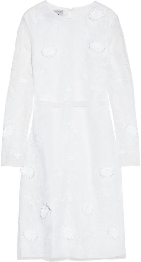 Valentino Embroidered silk-organza dress