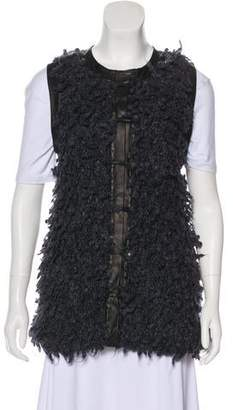 Rag & Bone Leather-Trim Fur Vest