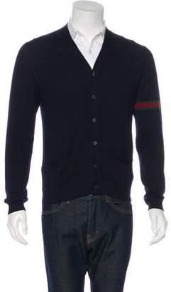 Gucci Wool Web-Trimmed Cardigan