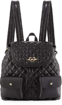 e03730fc50 Love Moschino Quilted Faux-Leather Logo Backpack