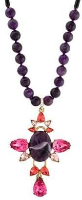 Oscar de la Renta Amethyst & Crystal Pendant Necklace