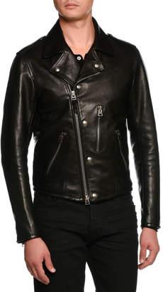 8ee7512d1 Mens Asymmetrical Zip Leather Jacket - ShopStyle