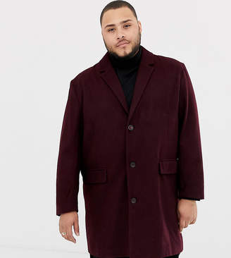 Jacamo wool blend overcoat in burgundy