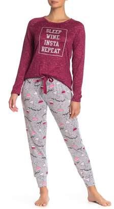 Couture PJ Sleep Wine Insta Repeat Long Sleeve Top Pants Pajama 2-Piece Set