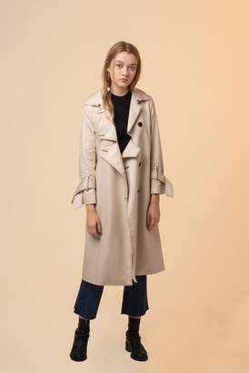 Genuine People Button Down Single Breasted Trench Coat