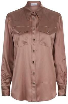 Brunello Cucinelli Satin Patch Pocket Shirt