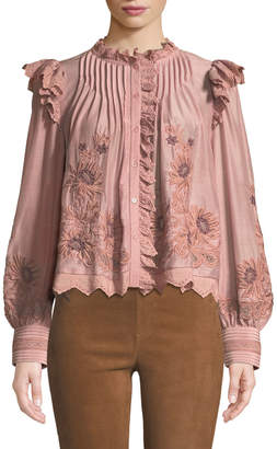 Sea Greta Button-Front Long-Sleeve Embroidered Lace Peasant Blouse