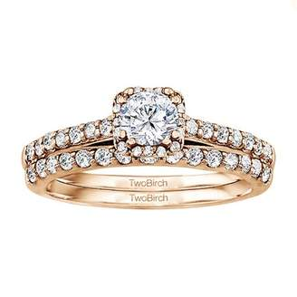 TwoBirch Bridal Set(engagment ring and matching band,2 rings) set in 14k Rose Gold With Diamonds (G,I2)(1.02tw)