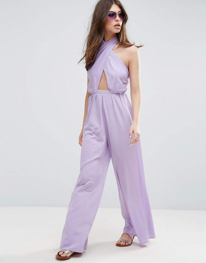 Asos ASOS Jumpsuit with Cross Front and Super Wide Leg