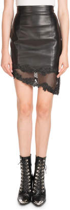 Balmain High-Waist Asymmetric Stretch-Leather Skirt w/ Lace Hem