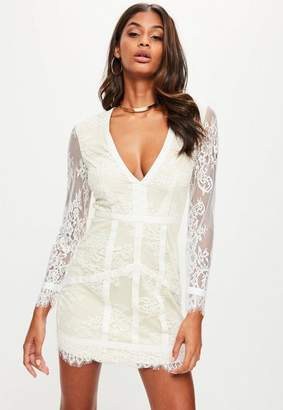 Missguided White Panelled Lace Plunge Long Sleeve Dress