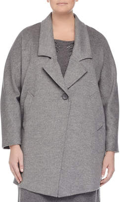 Marina Rinaldi Nobile Wool One-Button Jacket, Gray, Plus Size