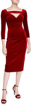 Chiara Boni Velvet 3/4-Sleeve Deep-Neck Dress